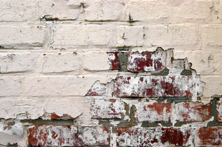Old Grunge Red brick With Peeled white Plaster. Background. Horizontal Texture. Retro Grunge Wall. Vintage.
