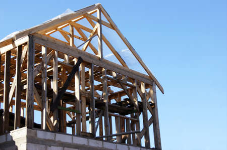 Wooden roof construction, for home, house building.