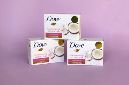 KHARKOV, UKRAINE - MARCH 4, 2020: Dove soap with coconut milk. Introduced to the British market in 1955, Dove is a personal care brand.