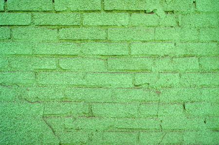 Green painted brick wall background, abstract architecture pattern. Old Urban street. Building's facade.