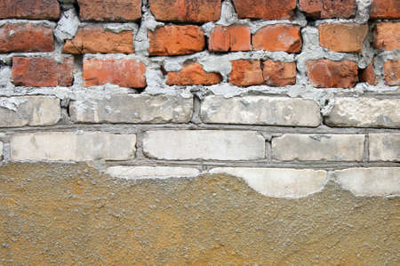 Red and white old brick wall background, abstract architecture pattern. Old Urban street. Buildings facade. Stok Fotoğraf