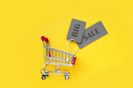 Mini shopping cart with gray labels with an inscription BIG SALE on a yellow background. The concept of shopping in stores and online.