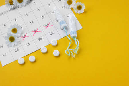 Menstrual tampons on menstruation period calendar with chamomiles on yellow background. The concept of female health, personal hygiene during critical days.