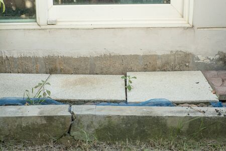 Land subsidence from the house then make hold and gap between home and land
