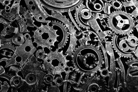 Abstract background from used engine parts. Black and white background.