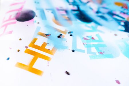 Hello. a lot of nadpi on a white background with spray paint stencil Accelerated video, screensaver on the site