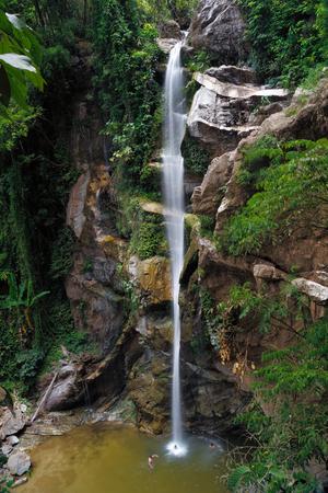 man waterfalls: Mok Fa waterfall  Doi Suthep-Pui National Park, Chiang Mai Province, Thailand