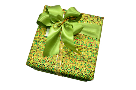 thai painting: Thai painting gift box with a ribbon and a green bow