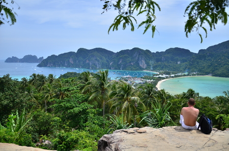 peaking: this is P.P. Island viewpoint at Kabi province in Thailand