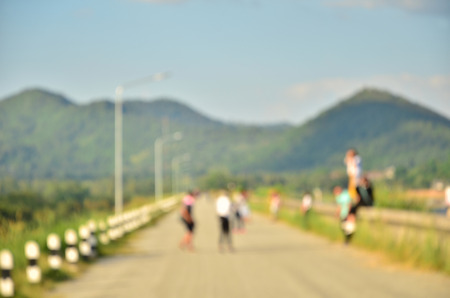 lofty: Mountain and people blur for background Stock Photo