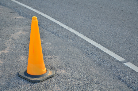 dividing lines: traffic cone with space for text