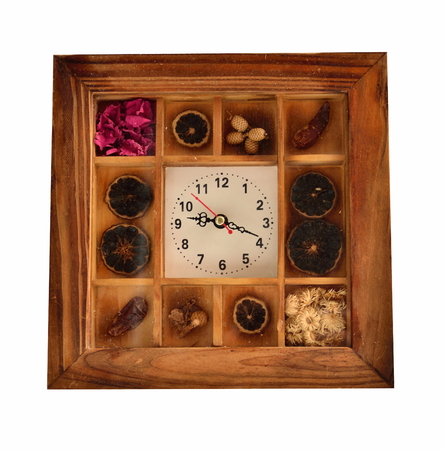 timepieces: wood clock isolate for hanging and set the table