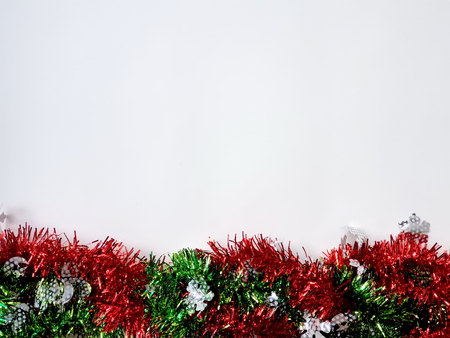 Tinsel of decoration for Christmas, New Year or another holidays on white background Archivio Fotografico