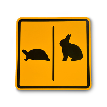 turtle and rabbit sign in isolated on a white background. Stok Fotoğraf