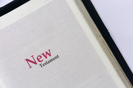 new testament: New testament cover in Holy Bible Stock Photo
