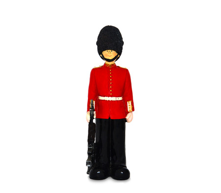 bearskin hat: Queens guard statue in traditional uniform with weapon, British soldier for background, isolated on white background