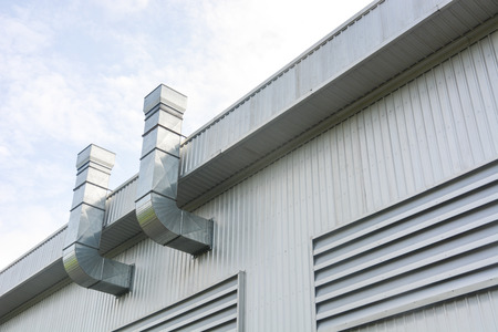 metal sheet for industrial building with air duct and ventilation system of factory