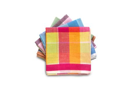 Pile de mouchoirs pliés isolé sur fond blanc Banque d'images - 71653539