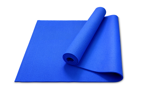 clipping path, close up roll blue color yoga mat isolated on white background Stock Photo