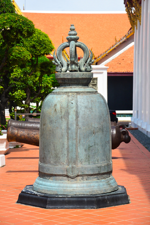 big ancient Thai bronze bell in the temple Bangkok, Thailand