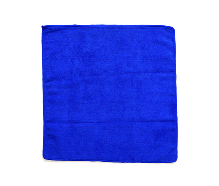 close up of fold multi purpose blue micro fiber cloth isolated on white background