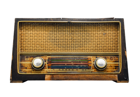 clipping path, old retro wooden radio receiver isolated on white background