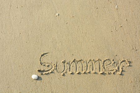the inscription summer by handwriting and shell on the beach sand with the sunlight in the evening, copy space