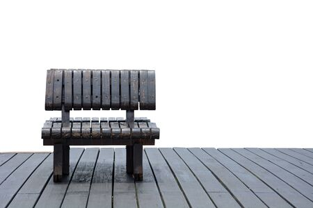 alone scratched wooden bench on the wood panel floor, isolated on white background, copy space, sad feeling or lonely concept Stok Fotoğraf