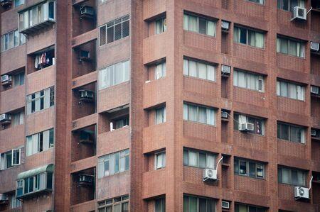 old vintage brownstone apartment building in Taipei, Taiwan Stok Fotoğraf