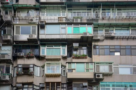 old crowded vintage residential apartment building in Taipei, Taiwan