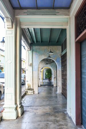 long corridor between  columns and arches, chino-Portuguese style, Phuket Thailand Stok Fotoğraf