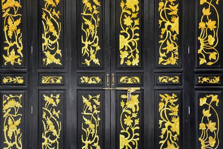 black wooden Chinese vintage style carved door, Chinese style folding doors Stok Fotoğraf
