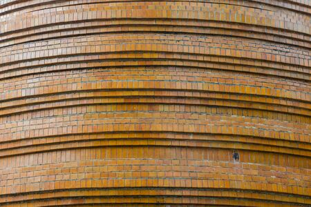 structure detail of pagoda base, brown tiled mosaic,  Buddhist temple