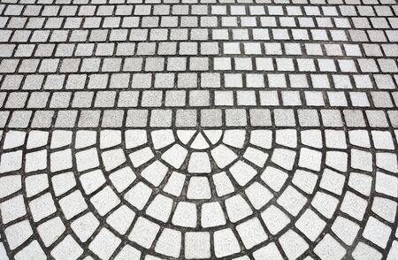 stone mosaic floor texture, stone pavement flooring in semicircle pattern Stok Fotoğraf
