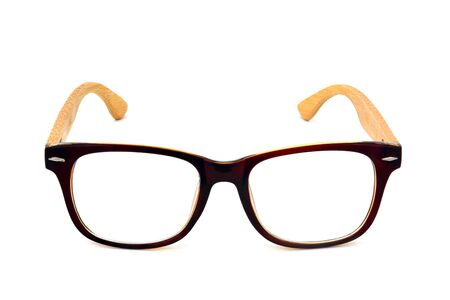 vintage dark brown wooden glasses isolated on white background