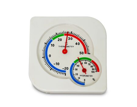close up white plastic analog thermometer and hygrometer isolated on white background.