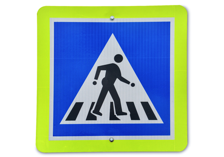 warning traffic sign, metal reflector pedestrian road sign isolated on white background.