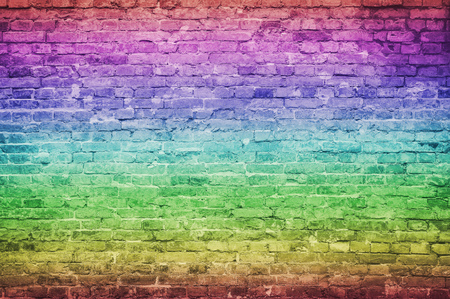 old vintage and grunge red brick wall background texture with scratches and cracks, rainbow gradients effect