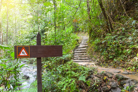 slippery route sign along the way to waterfall in tropical forest, Thailand