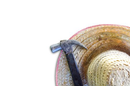 hammer and hat isolated on white  background, copy space