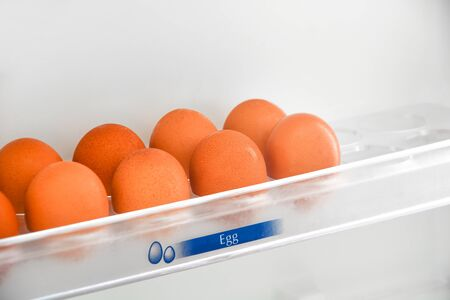 fresh chicken eggs in the egg shelf in the refrigerator, copy space, breakfast time concept