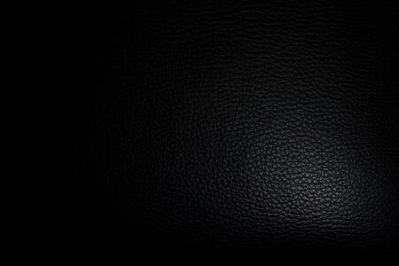 luxury black leather with light at the corner texture background Banco de Imagens