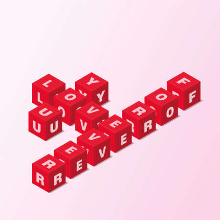 Red block word LOVE YOU FOREVER vector isometric