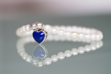 lapis: Fresh Water of Pearl and Sterling Silver Beaded Bracelet with Reconstructed Heart Lapis