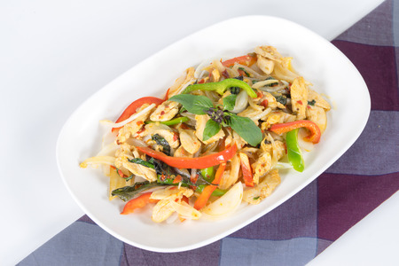 Chicken with Spicy Basil leaf, Fresh Chili, Minced Garlic, White Onions, Bamboo, Bell Pepper photo