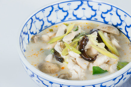 intensely: Spicy coconut soup with chicken. thai call Tom Kha delightful creamy soup with rich coconut milk, mushrooms, intensely flavor of galanga, lemongrass, kaffir lime leaf, cilantro