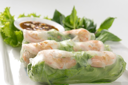 hoisin: Fresh Roll with shrimp inside and chicken, tofu, bean sprouts, lettuces, mint leaf, cucumber, carrots wrap and tamarind hoisin sauce Stock Photo