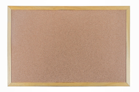 Brown cork board frame, isolated on white background photo