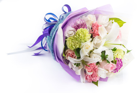 Bouquet of flowers isolated on white Banco de Imagens