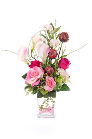 Decoration Artificial Plastic Flower With Glass Vase Pink Crystal